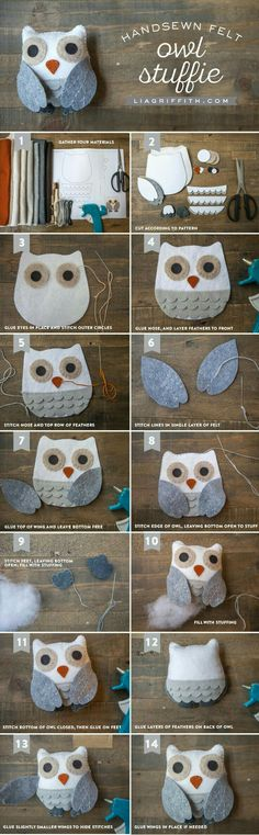 Felt Owl Stuffie (an Easy Craft for Adults & Kids!) - Lia Griffith Felt Owl Stuffie (an Easy Craft f Fabric Crafts, Sewing Crafts, Sewing Projects, Felt Projects, Sewing Toys, Christmas Projects, Felt Owls, Felt Animals, Felt Birds