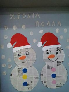 Newspaper snowmen
