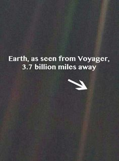 Earth, the Pale Blue Dot. Thank Carl Sagan for having this picture taken from Voyager. barely a star