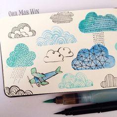 watercolor clouds by ohn_mar_win Watercolor Clouds, Watercolor And Ink, Watercolor Illustration, Watercolor Paintings, Airplane Illustration, Watercolours, Art Aquarelle, Buch Design, Art Sketchbook