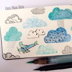 watercolor clouds by ohn_mar_win