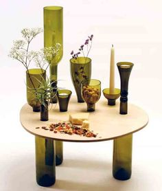User-Designed Table Using Recycled Wine Bottles | Urban Gardens | Unlimited Thinking For Limited Spaces | Urban Gardens