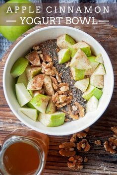 Apple Cinnamon Yogurt Bowl - a healthy snack that's delicious and on point with nutrition. Healthy snack ideas don't have to be hard, this apple recipe is high in fiber (11g) and protein! A healthy dessert that will please your sweet tooth. 21 Day Fix!
