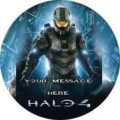 HALO 4 PERSONALISED EDIBLE ICING PARTY CAKE DECORATION TOPPER ROUND IMAGE