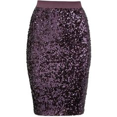 By Malene Birger Sequin Kiala Skirt (1,850 MYR) ❤ liked on Polyvore featuring skirts, purple, knee high skirts, knee length sequin skirt, purple pencil skirt, pencil skirt and elastic waist pencil skirt