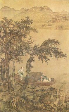 Sheng Mao(盛懋) , 元 盛懋 秋舸清啸图轴 上海博物馆藏. 传世作品有《秋林高士图》轴(台湾故宫博物院藏)、《秋江待渡图》轴(北京故宫博物院藏)、《沧江横笛图》轴(南京博物院藏)、《溪山清夏图》轴(台湾故宫博物院藏)和《松石图》轴(北京故宫博物院藏)等。