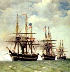 Danish North Sea fleet on rout to intercept a combined Prussian and Austrian fleet. The fleets med the 9. May 1864 at the battle of Helgoland. A tactical Danish victory.