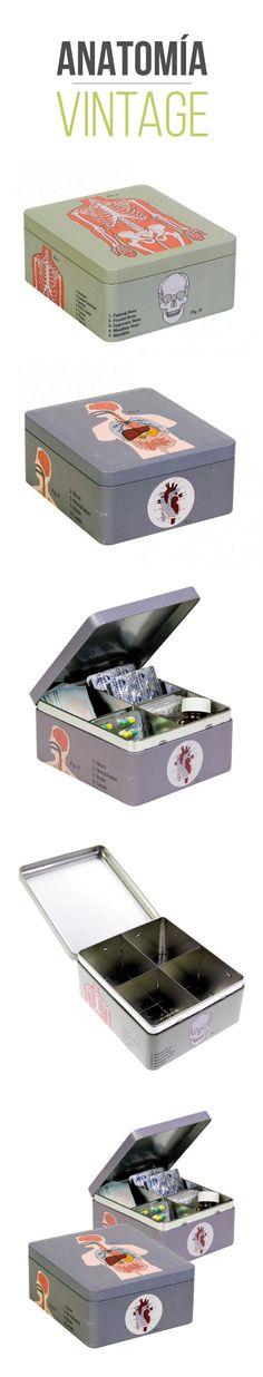 Caja metálica ideal para guardar tus medicamentos y tener todo ordenado. Un diseño vintage de la anatomía humana con ilustraciones del esqueleto y órganos del cuerpo humano. #medicina, #decoracion, #vintage, #diseño, #medicina