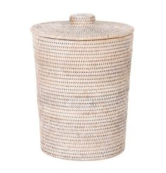 Kouboo La Jolla Rattan Round Plastic Insert & Lid, Large, White-Wash for Bedroom, Living Room and Bathroom Basket for Dry or Organic Waste Rattan, Wicker, Bathroom Baskets, Plastic Bins, Garbage Can, Laundry Hamper, Laundry Basket With Lid, Paper Organization, Recycling Bins