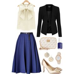 Bow Blouse 10 by smlomas on Polyvore featuring Topshop, Vionnet, Manolo Blahnik, Michael Kors, Kate Spade, NLY Accessories and Essie
