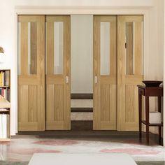 Deanta Quad Telescopic Pocket Eton American White Oak Veneer Doors - Clear Safety Glass - Unfinished.      #pocketdoors  #telescopicdoors  #internalslidingdoors