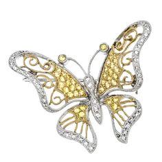 Yellow Sapphire & Diamond Butterfly Pin 14K  benbridge