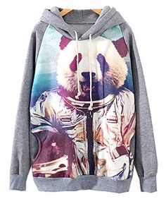 3fb3fb7a21a KLQ Vintage Women s Panda Print Long Sleeve Sweatshirt Pullover Hoodie Grey  at Amazon Women s Clothing store
