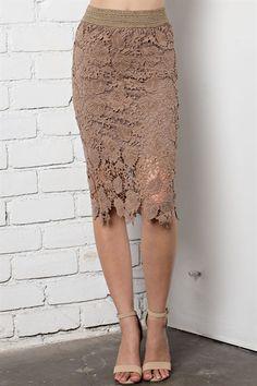 d1b0bbfbad Floral Crochet Pencil Skirt - orangeshine.com