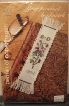 NIP-1994-Permin-of-Copenhagen-Counted-Cross-Stitch-Kit-Violet-Bookmark