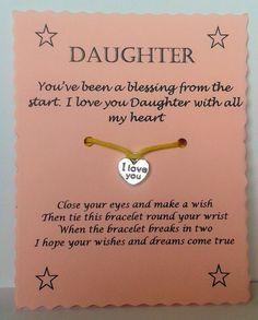 Wish Bracelet Daughter Gift Friendship bracelet Charm bracelet String Wish Bracelet Cord Bracelet Keepsake Card Daughter Present by GemsNJewells on Etsy