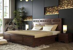 Swirl Bed With Storage is a large with sleek design and thus makes perfect choice is huge master bedroom. Get this at best price from Buy King Size Bed, Wooden King Size Bed, Wooden Double Bed, King Size Bed Frame, Double Beds, Wood Bed Design, Bedroom Bed Design, Bedroom Furniture Design, Room Decor Bedroom