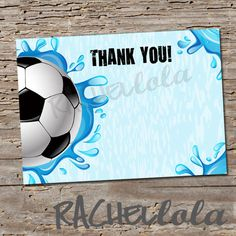Soccer Pool Party, Thank You notes,  4x6, or 5x7, Instant Download