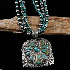 HUGE Darryl Becenti Navajo Royston Turquoise Necklace Squash Blossom Necklace