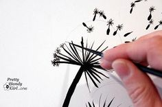 Tutorial for Painting Dandelion Wall Graphic - Pretty Handy Girl Art Lessons, Art Instructions, Art Drawings, Creative, Wall Graphics, Diy Art, Dandelion, Art Tutorials, Decorative Painting