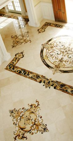 Here, Aalto's iconic Capri collection of custom marble inlay borders and medallions is created from versatile and distinctive marbles. Floor Design, Ceiling Design, Tile Design, Mansion Interior, Home Interior Design, Interior Decorating, Lobby Design, Bungalow House Design, Tiles