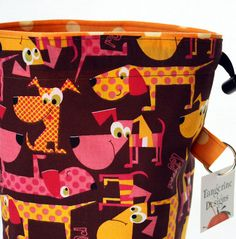 Knitting WIP Project Bag Pup named DotDrawstring by Tangerine8, $18.00