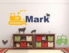 Personalized Name Wall Decal - Farmer Wall Decal -Kids Monogram Decal -Nursery Decal - Playroom Decal - Nursery - Tractor - Farm Animals