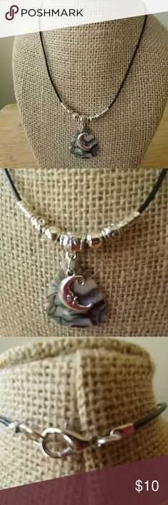 "Handmade Necklace Handmade Necklace 16.5"" Long, Black Leather Cord, , Abalone Colored Guitar Pick 1""x1"", Tibetan Silver Moon Charm & Beads, Silver Lobster Closure Handmade Jewelry Necklaces"