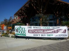 Awesome banner for Whole Foods protest! Bunny Rabbit, Whole Food Recipes, Banner, Foods, Meat, Awesome, Banner Stands, Food Food, Food Items