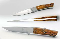 afk-knives.com blade steel: D2  length overall: 215 mm, 8.465 in  blade length: 100 mm, 3.937 in  blade thickness: 9,5 mm, 0.374 in, integral  blade strength: 59-60 Rockwell  handle material: cocobolo, ebony, macassar ebony, ziricote, bocote or olive  Foto: Dirk Weiss