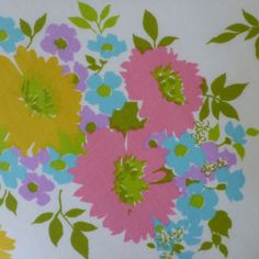 vintage sheet fabric fat quarter flower bunches in by sosovintage, $2.50