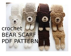 Crochet Stuff Bears Crochet Bear Scarf Pattern - We've put together a collection of Crochet Animal Scarves Free Patterns included. You'll find a video tutorial plus lots of amazing inspiration. Bonnet Crochet, Crochet Diy, Crochet Bear, Crochet For Kids, Crochet Animals, Crochet Crafts, Crochet Dolls, Crochet Projects, Diy Crafts