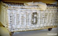 weathered basket with vintage wheels, painted furniture, repurposing upcycling, storage ideas