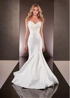 Elegant Satin Sweetheart Neckline Natural Waistline Mermaid Wedding Dress