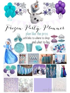 Frozen Theme Party Planner Plan your party like the pros do! My shopping list for creating a fabulous Frozen party with all the little details plus where to buy everything, easy click and shop #frozen #partyideas #kidsparty Frozen decorations, invitations, cupcakes, candy buffet, party favors, table decor, party supplies