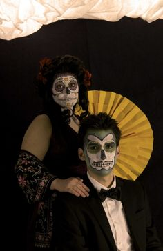 Day of the Dead Sugar Skull Couple. great couples halloween costume idea.
