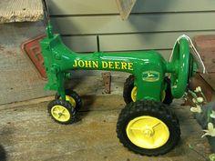 Repurposed old sewing machine into John Deer tractor