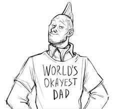 Yondu with a world's okayest dad shirt. fan art