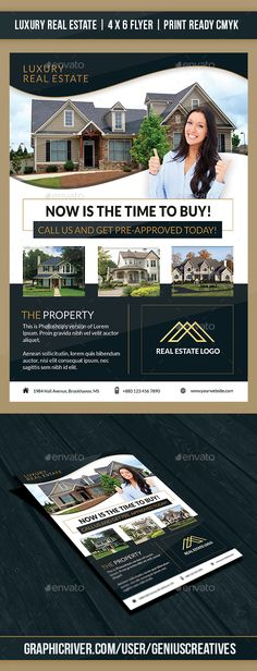 Luxury #Real #Estate #Flyer Template - Corporate Flyers Download here:   https://graphicriver.net/item/luxury-real-estate-flyer-template/20356363?ref=alena994