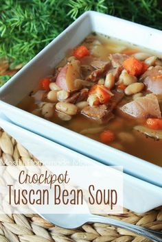 Crockpot Tuscan Bean Soup - a MUST try for fall, just look at those autumn colors!  www.mostlyhomemademom.com