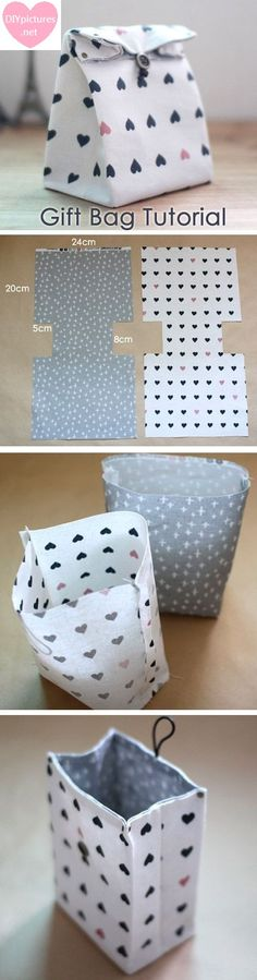 Fabric Gift Bags Instructions DIY Step-By-Step Tutorial