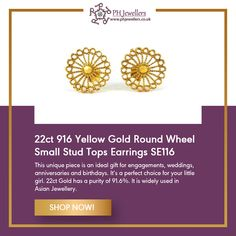 Stunning delicate Gold Round Wheel Small Kids Stud Earrings are a great fusion of traditional Indian and Western design, making it quite appropriate with both Indian and Western wear. An ideal gift for engagements, weddings, anniversaries and birthdays. Diamond Pendant Necklace, Gold Earrings, White Gold Jewelry, Preston, Western Wear, Engagements, Ph, Birthdays, Delicate
