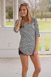Bow And Stern Top, Navy/Orange