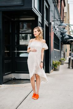maternity style off the shoulder dress