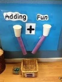 A fun way to encourage addition math skills with cups and paper towel or toilet paper rolls. I did this with big C in pre-K. Math For Kids, Fun Math, Kids Work, Math 2, Kindergarten Classroom, Teaching Math, Eyfs Classroom, Math Teacher, Classroom Displays Eyfs
