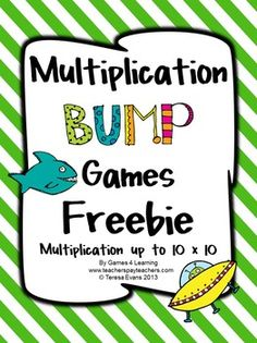 Bump, Bump, Bump! Kids love to bump! See for yourself with these FREEBIE games - Multiplication Bump Games Freebie from Games 4 Learning ENJOY!