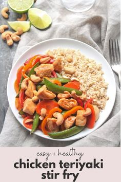This chicken stir fry recipe with teriyaki sauce, carrots, peppers, and snap peas goes great over white or brown rice. Or, serve with noodles! The cashews add a nice crunch. It's a super easy and healthy weeknight dinner! #chickenteriyaki #stirfry #teriyaki #chickenrecipes #healthydinner