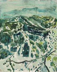 """""""Ski-Mountain"""", Peter Doig, (Scotland, b. 1959), 1995, oil on board, 12 7⁄8 x 11¾"""", private collection."""