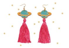 Hey, I found this really awesome Etsy listing at https://www.etsy.com/uk/listing/294218129/planet-tassel-earrings-saturn-ringed
