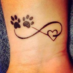 tattoo infinity symbol with dog paw prints and heart - Google Search